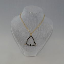 Black Pearl Triangle Pendant Necklace