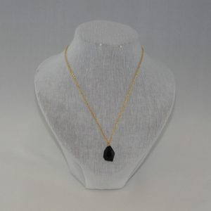 Black Acrylic Faceted Pendant Necklace