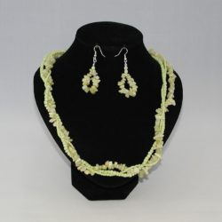 Lime Green Necklace Ear Rings Set