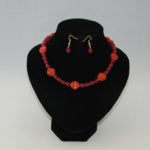 Red Indian Glass Malay Jade Necklace Ear Rings