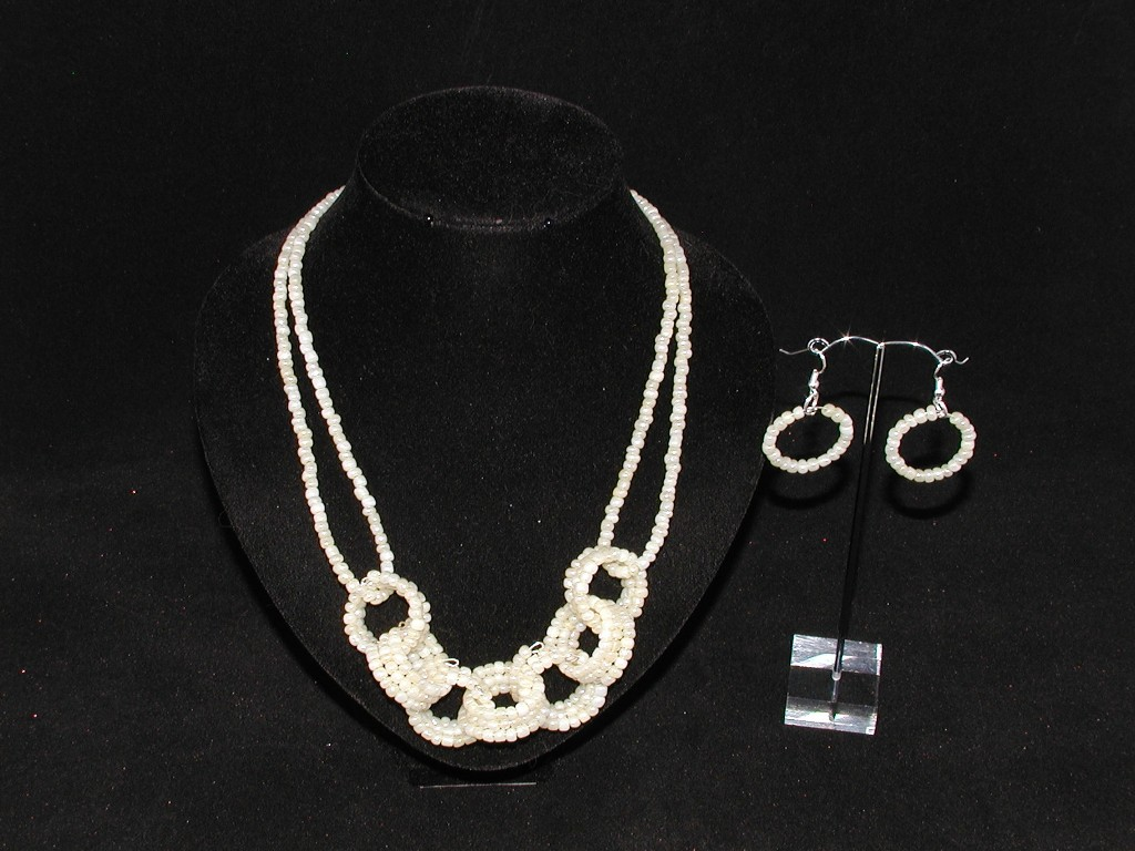 Cream Seed Bead Rings Necklace Ear Rings