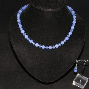 Blue Chalcedony Necklace Ear Rings