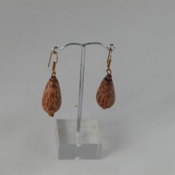 Brown Wooden Pears Ear Rings