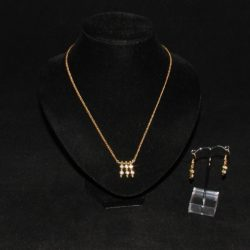 Gold Chain Diamante Dangle Necklace Ear Rings