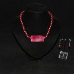 Red Poppy Agate Malay Jade Necklace Ear Rings