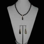 Black Beige Agate Pearl Necklace Ear Rings