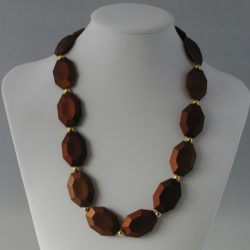 Brown Lozenge Shaped Beads Necklace