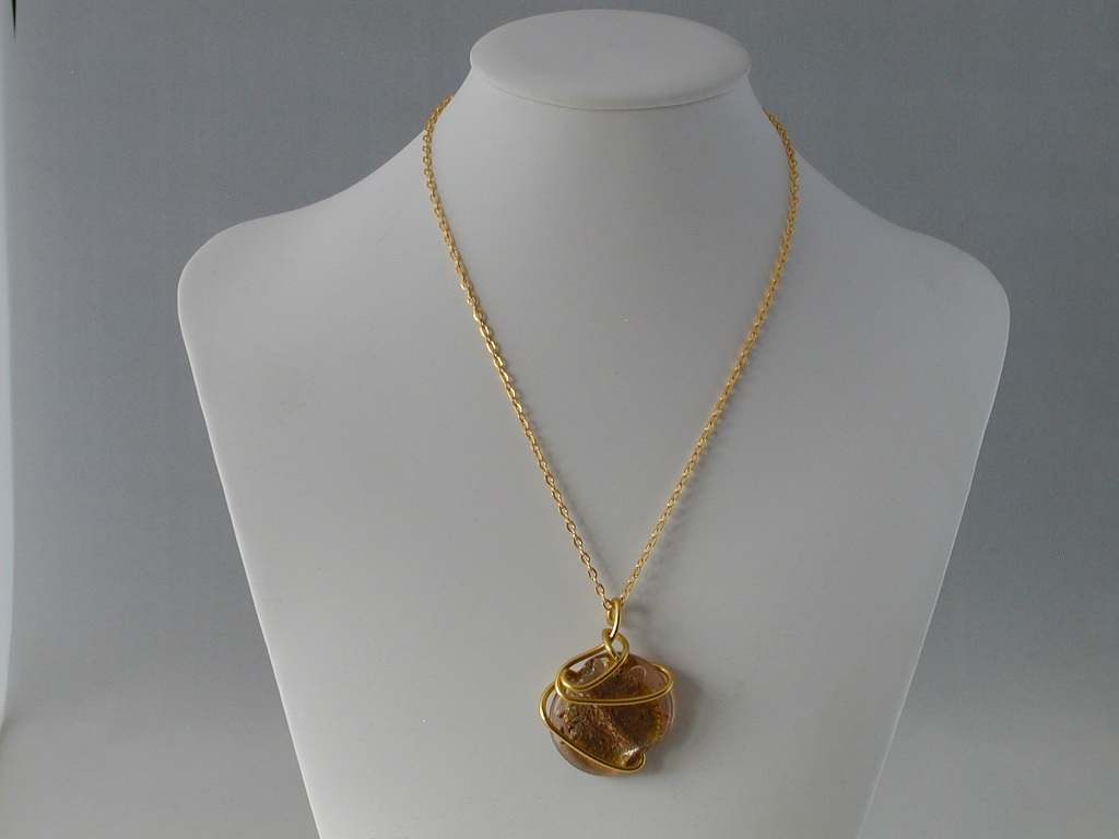 Gold Chain Peach Wire Wrapped Glass Pendant Necklace