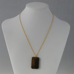 Brown Gold Striped Acrylic Pendant Necklace