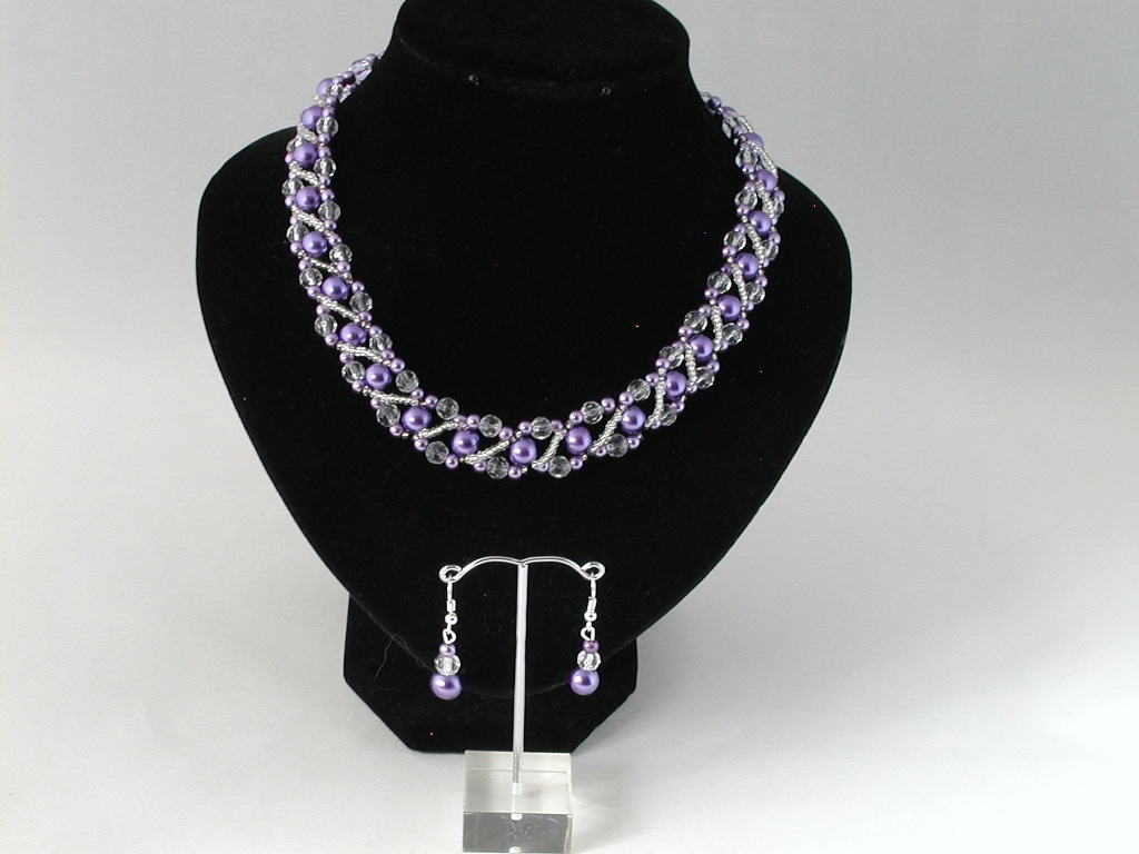Lilac Pearl Crystal Linked Double Strand Necklace Ear Rings
