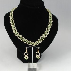 Cream Pearl Fern Crystal Linked Double Strand Necklace Ear Rings