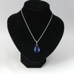 Blue Pear Drop Silver Snake Chain Necklace