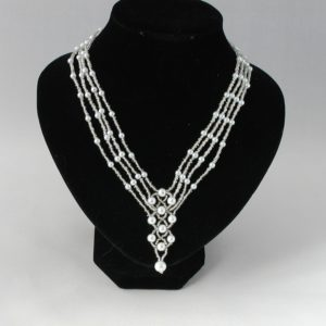 Four Strand Pearl Seed Bead Linked Necklace