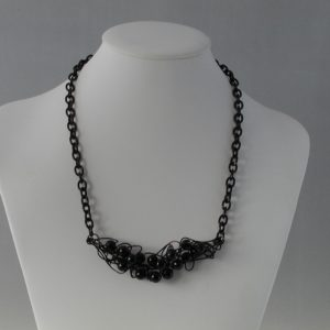Black Pearls Black Wire Work Necklace
