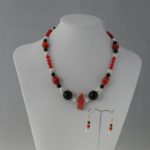 Red White Black Necklace Ear Rings