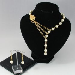 Chain Linked Ivory Pearl Necklace Ear Rings