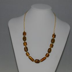 Golden Indian Glass Beads Gold Chain Necklace