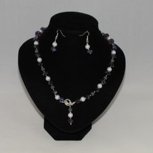 Amethyst Crystal White Pearl Two Piece Set