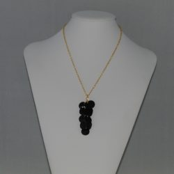 Black Mussel Shell Dangle Pendant Necklace