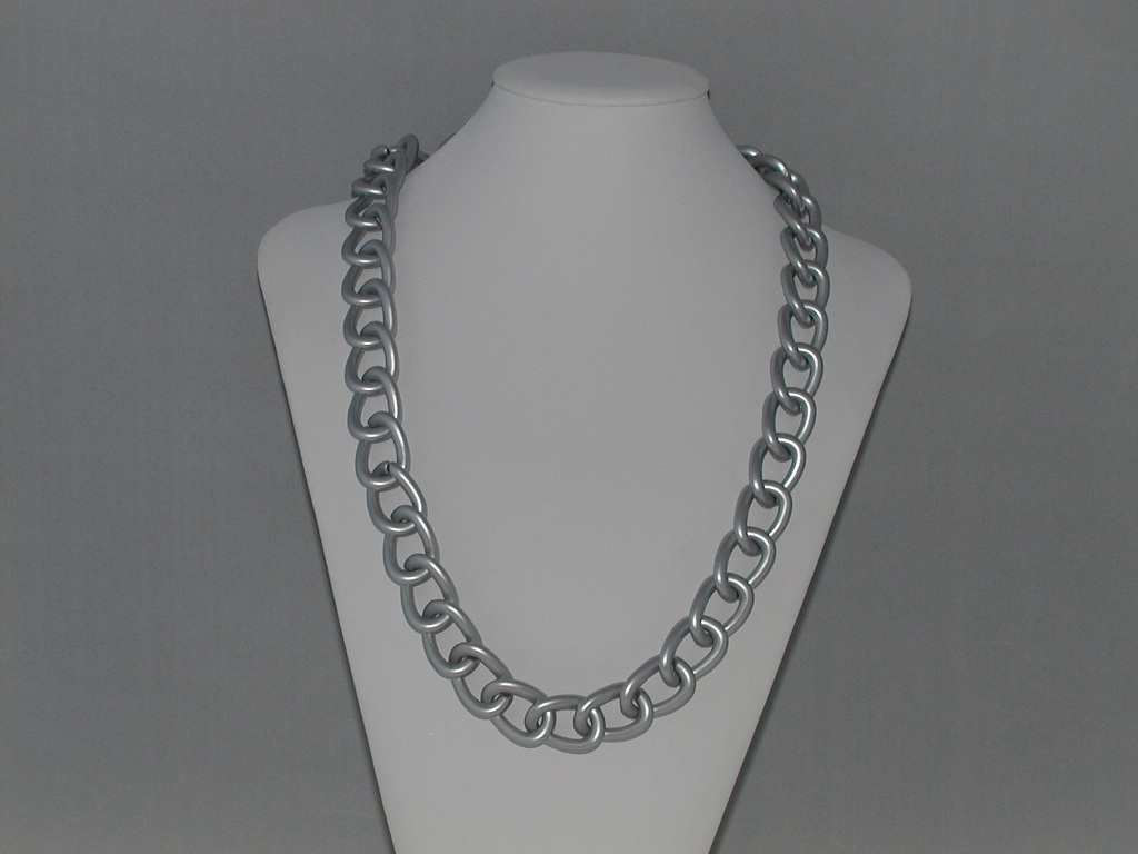 Chunky Matt Silver Rings Necklace
