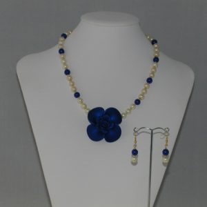 Blue Rose Necklace Pearl Ear Rings