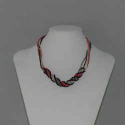 Cream Coral Silver Black African Helix Necklace