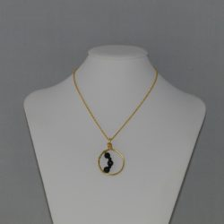 Gold Chain Black Pearl Wire Wrapped Necklace