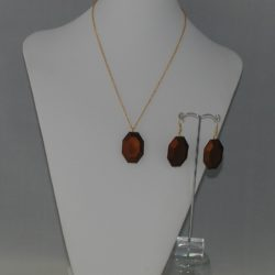 Brown Acrylic Lozenge Necklace Ear Rings