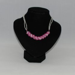 Cream Pink Silver African Helix Necklace