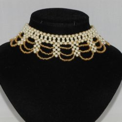 Cream Pearls Golden Seed Beads Loops Necklace