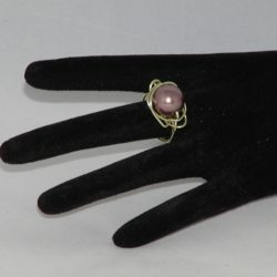 Gold Wire Wrapped Large Coffee Pearl Ring