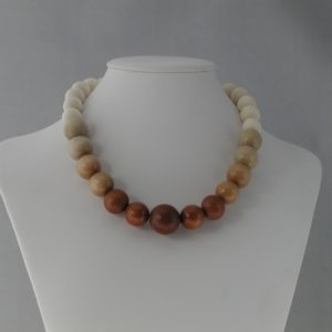 Cream Beige Acrylic Brown Wooden Beads Necklace