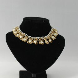 Cream Pearl Dangle Golden Seed Beads Necklace