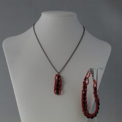 Black Rondelles Red Seed Beads Pendant Necklace Bracelet Set