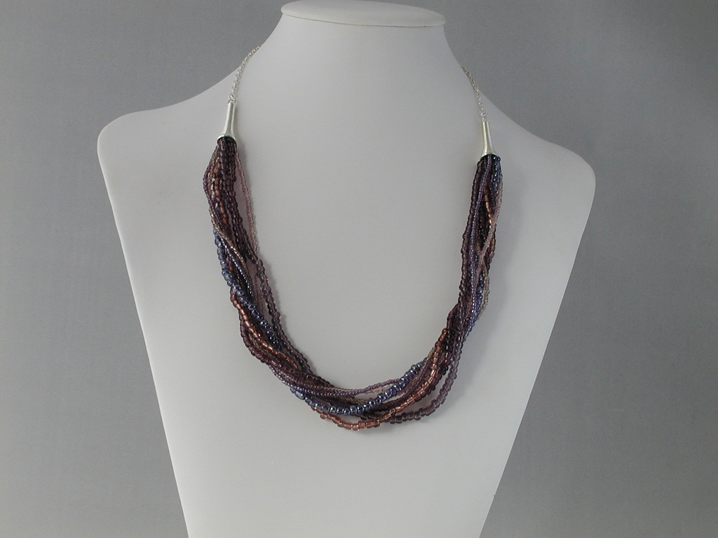 Eight Strand Mixed Gray Brown Seed Bead Chain Necklace