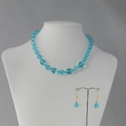Blue Opaque Indian Glass Necklace Ear Rings Set