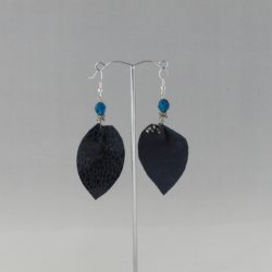 Navy Leather Leaf Ear Rings