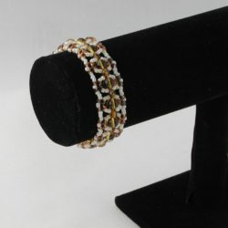 Amber Duo Beads Crystal Rondelles Cuff Bracelet