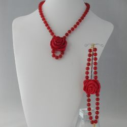 Red Malay Jade Resin Rose Necklace Bracelet