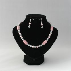 Gray Pearl Dusty Pink Crackle Ceramic Necklace Ear Rings