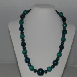 Turquoise Dark Blue Wooden Beads Necklace