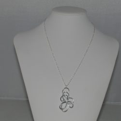 Abstract Swirls Silver Chain Pendant Necklace