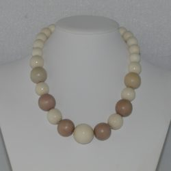 Cream Fawn Wooden Beads Necklace