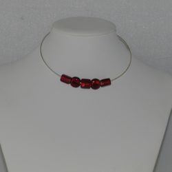 Silver Wire Red Glass Bead Necklace