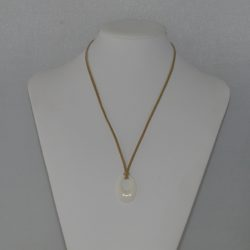 Beige Suede Cord Beige Oval Pendant Necklace