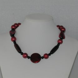 Burgundy Beads Black Beads Chunky Necklace