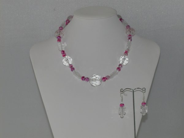 Clear Acrylic Draw Bench Bead Necklace Ear Rings