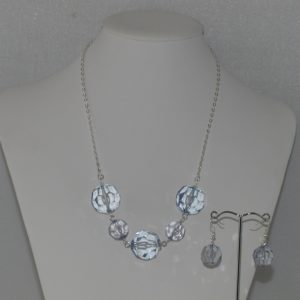 Large Blue Crystals Silver Chain Necklace Ear Rings Set