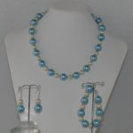 Sky Blue Large Glass Pearls Necklace Bracelet Ear Rings