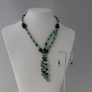 Celadon Malay Jade Black Rondelles Dangles Necklace Ear Rin